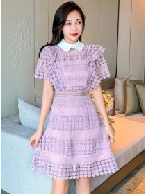 Grace Fashion 2 Colors Doll Collar Hollow Out Lace Dress