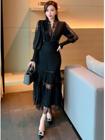 Fashion Women 2 Colors Lace V-neck Pleated Puff Sleeve Dress