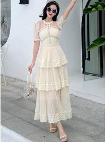 Korea Stylish High Waist Lace Flouncing Pleated Layered Dress