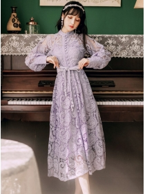 Fashion 2 Colors Single-breasted Tie Waist Lace Long Dress