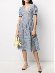 Europe Wholesale Fitted Waist Puff Sleeve Lace Dress