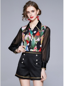 Europe Stylish Beads Shirt Collar Flowers Double-breasted Suits