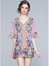 Hot Selling Flare Sleeve V-neck Flowers Short Suits