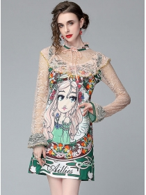 Lovely Wholesale Princess Printings Lace Sleeve A-line Dress