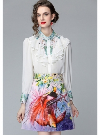 Grace OL Flouncing Chiffon Blouse with Flowers A-line Skirt