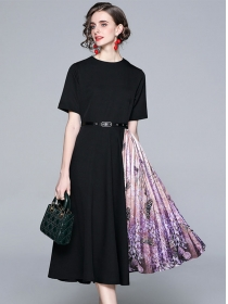 Summer New Round Neck Flowers Pleated A-line Dress