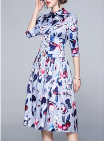 Europe Stylish Fitted High Waist Flowers A-line Dress
