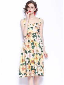 Charm Women High Waist Flowers Straps Long Dress