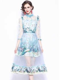 Fresh Fashion High Waist Gauze Flowers Long Dress