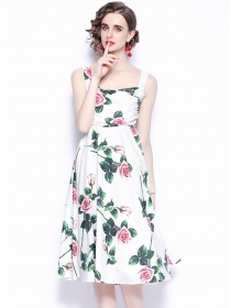 Pretty Wholesale High Waist Straps Flowers Women Dress