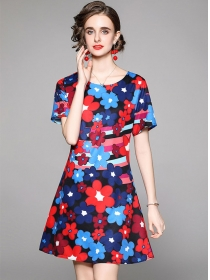 Wholesale Pretty Round Neck Flowers A-line Dress