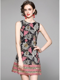 Hot Selling Round Neck Flowers Tank A-line Dress