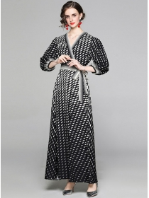 Classic Fashion Tie Waist Raindrops Puff Sleeve Maxi Dress