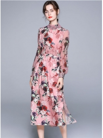 Europe Chic Beads Collar Elastic Waist Flowers Maxi Dress