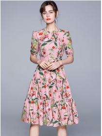Pretty Women Tie Waist Flowers Fishtail A-line Dress