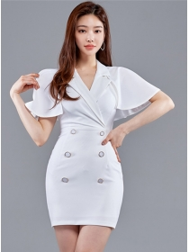Korea 2 Colors Double-breasted Batwing V-neck Slim Dress