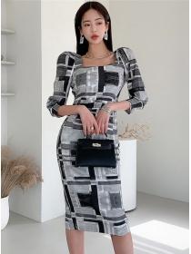 Retro Wholesale Square Collar Plaids Slim Women Dress