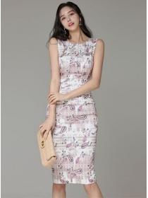 Wholesale Korea Round Neck Fitted Waist Flowers Tank Dress