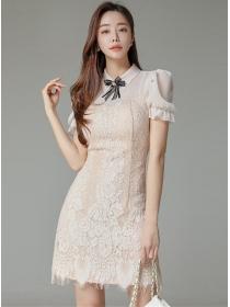 Grace Women Bowknot Collar Puff Sleeve Lace Dress