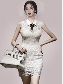 Stylish Women Bowknot Shirt Collar Lace Slim Tank Dress