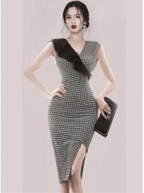 Classic Fashion Flouncing V-neck Plaids Slim Tank Dress