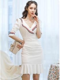 Korea Hot Stripes Tailored Collar Fishtail Slim Women Dress