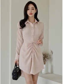 Fashion Women Draw-string Waist Shirt Collar Dress