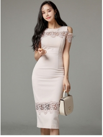 Elegant OL Lace Splicing Off Shoulder Bodycon Dress