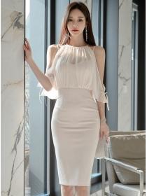 Charm Women Off Shoulder Splicing Straps Bodycon Dress