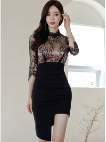 Pretty Women Lace Splicing High Waist Bodycon Dress