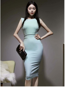 Sexy Wholesale 2 Colors Backless Bowknot Slim Dress