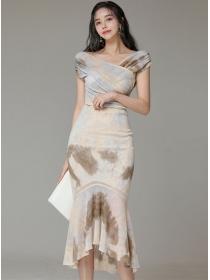 Retro Korea Boat Neck High Waist Fishtail Dress Set