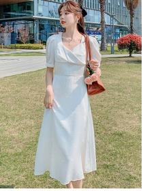 Summer New 2 Colors High Waist V-neck Puff Sleeve Dress
