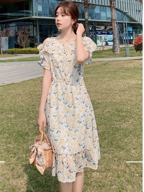 Fresh Korea Flouncing Round Neck Flowers Chiffon Dress