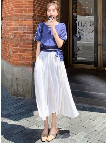 Summer New Round Neck Splicing Pleated Long Dress