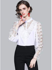 Summer Fashion Lace Hollow Out Long Sleeve Blouse