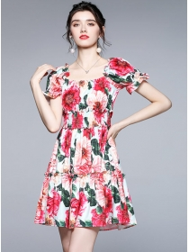 Charming Wholesale Boat Neck Puff Sleeve Flower Dress