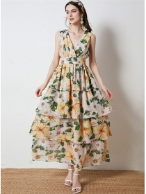 Sexy Fashion V-neck Backless Layered Flouncing Maxi Dress