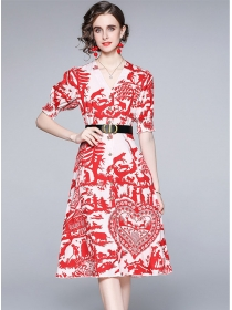 Fashion New V-neck Flowers Single-breasted Puff Sleeve Dress