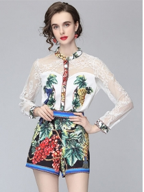 Pretty Summer Lace Sleeve Blouse with Flowers Short Pants