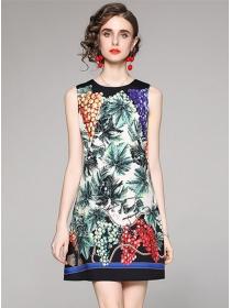 Wholesale Summer Round Neck Printings Tank Dress
