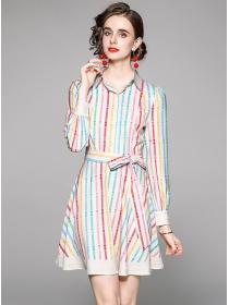 Preppy Fashion Shirt Collar Tie Waist Stripes A-line Dress