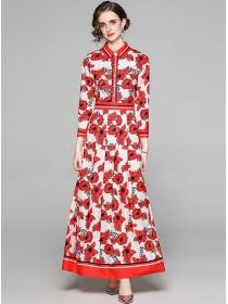 Vogue Lady High Waist Flowers Shirt Collar Maxi Dress