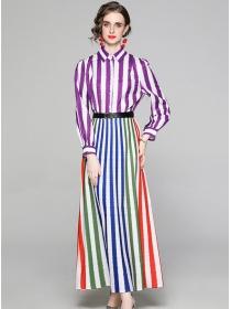 Europe Stylish Colorful Stripes Shirt Collar Maxi Dress