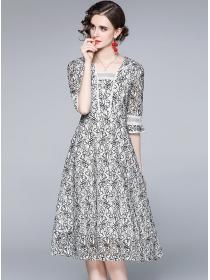 Summer Wholesale Square Collar Lace Flowers A-line Dress
