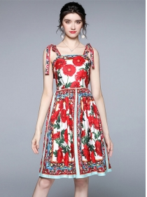 Wholesale Summer Tie Straps Flowers Women Dress