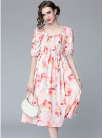 Lovely Wholesale Stretchable Square Collar Puff Sleeve Dress
