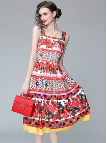 Europe Charming High Waist Straps Flowers A-line Dress