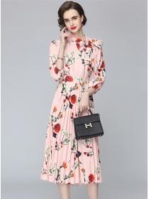 Elegant Charming Tie Bowknot Collar Pleated Dress Set