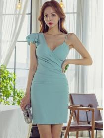 Sexy Fashion V-neck Flouncing One Shoulder Slim Dress